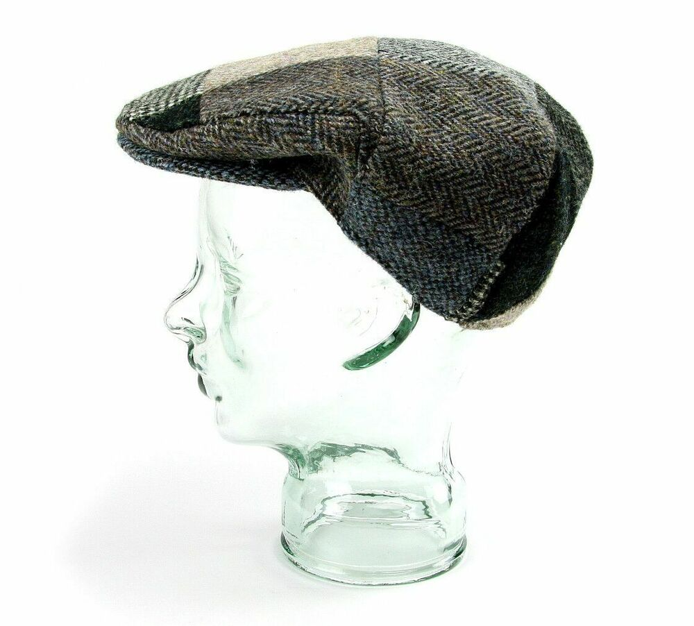 fba71069 Details about Lambland Mens UK Made Traditional Patch Harris Tweed Flat Cap  Hat Blue Green