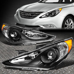 Kyпить FOR 11-14 SONATA PAIR BLACK HOUSING AMBER CORNER PROJECTOR HEADLIGHT HEAD LAMPS на еВаy.соm