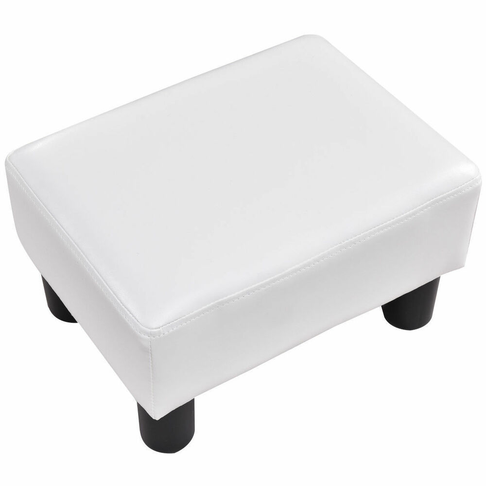 Small Chair With Ottoman: Small White Ottoman Footrest PU Leather Footstool