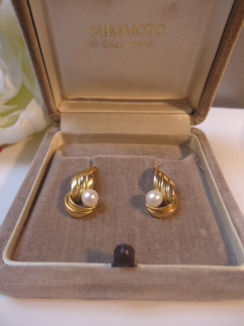 21a1f7025 Fabulous MIKIMOTO Vintage AAA Luster Pearl Rose Gold Wing Pierced Earrings  Mint | eBay
