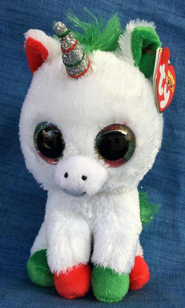 65cbfb7347e Details about W-F-L Ty Boos Candy Cane Unicorn 5 7 8in Christmas Glubschi  Boo ´ S