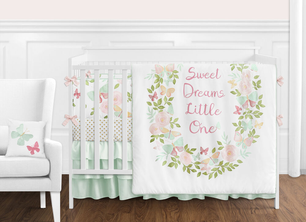Blush Pink Mint White Shabby Chic Butterfly Floral Baby