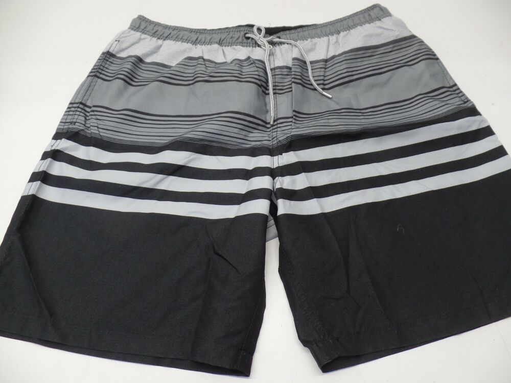 eea5fefa84845 Details about Kirkland Signature Men's Swim Short Black/Grey Stripe - XL -  NWT