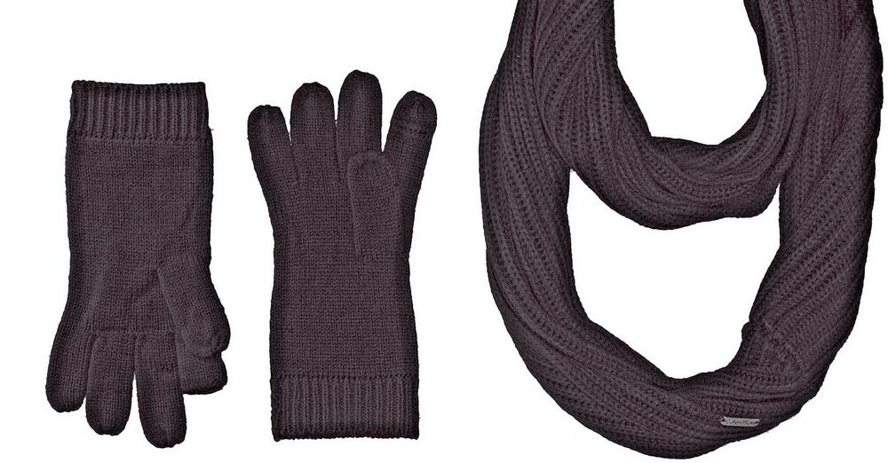 38f51628eaa Details about Calvin Klein  88 NWT Knit 2 Piece Scarf Touch Gloves Set  Black New No Hat