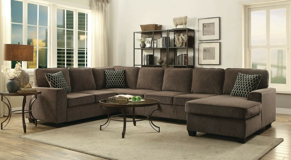 Multi Tonal Brown Chenille Sofa Chaise Storage Sectional Living Room