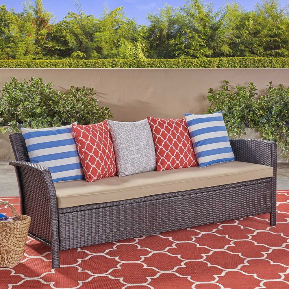 2f5a2007c9e93b Details about Auguste Outdoor Wicker 3 Seater Sofa
