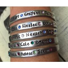 names Bracelet with birthstones Custom personalized mother MOM Hand stamped Gift