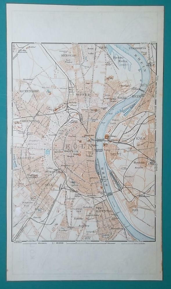 1936 MAP - GERMANY German Reich Cologne Koln City and Town Center Plan    eBay
