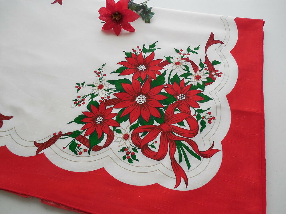 Beau Details About Vintage Red Christmas Poinsettia Tablecloth 60 X 86