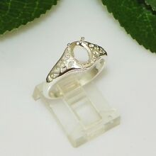 NEW!! 8x6 Oval Filigree Sterling Silver Pre-Notched Ring Setting Sz8 (#5213)