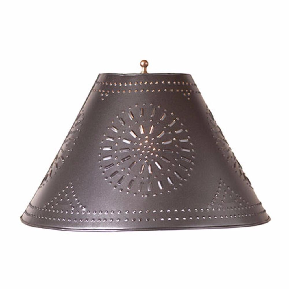 Country New Smokey Black Punched Tin 13 Quot Flare Lamp Shade