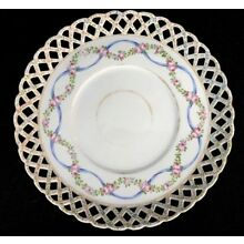 Antique DH Holmes New Orleans Reticulated Lattice Handpainted Porcelain Plate 8