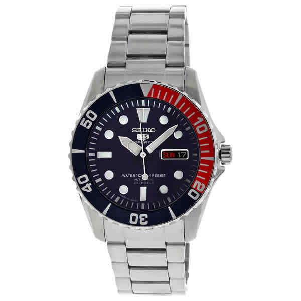 f62643bb5818f Details about Seiko 5 Automatic Dark Blue Dial Stainless Steel Pepsi Bezel  Men s Watch