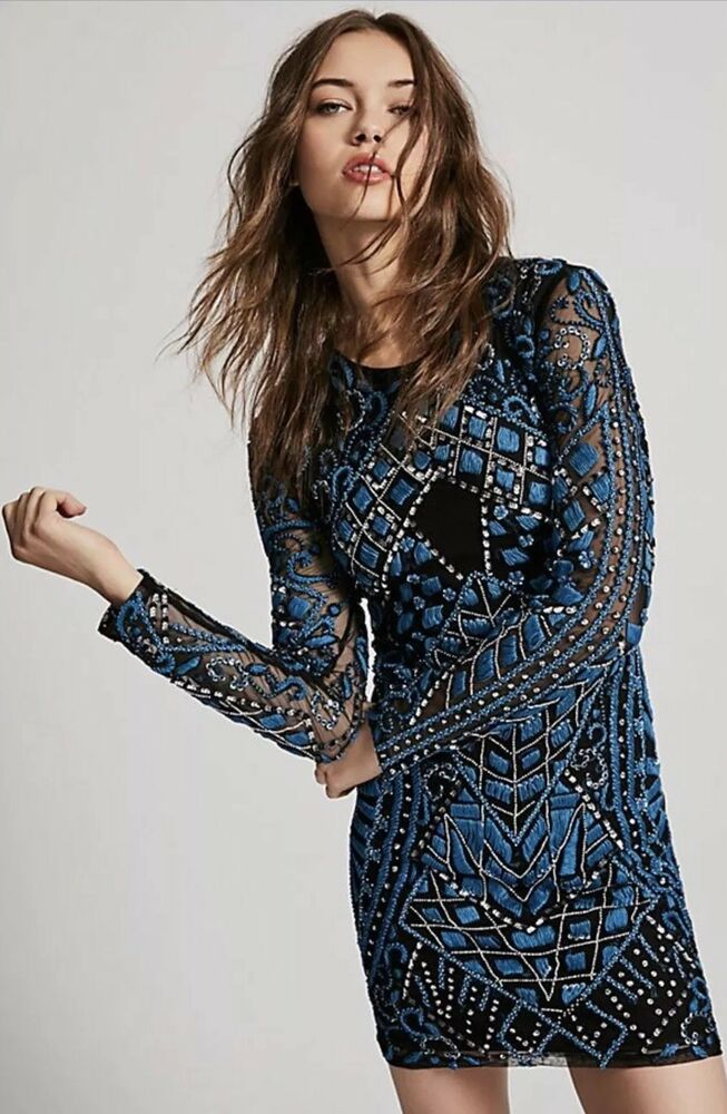 7af1a92593a7 Details about NEW Free People Embroidered Holiday Mini Bodycon Dress Size 2  Blue/Black