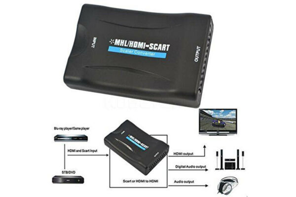 Convertitore da hdmi a scart adattatore video audio stereo tv full hd