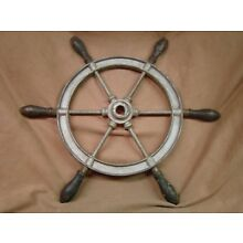 Antique cast iron ship wheel wood handles Wilcox Crittenden 9 pounds 20