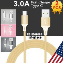 2x Type C Data Fast USB Charger Charging Cable Cord For LG G7 G6 G5 V40 V30 V20
