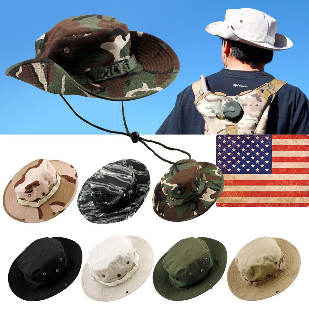 7d33ec04720 Details about Bucket Hat Boonie Hunting Fishing Outdoor Men Cap Washed  Cotton W  STRINGS  547