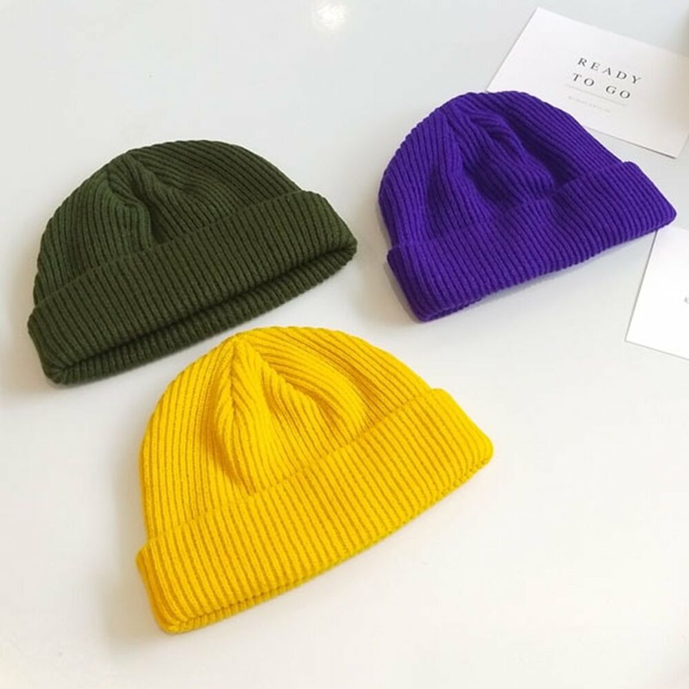 0cea5bc615f Details about Fisherman Beanie Ribbed Hat Winter Warm Turn Up Retro Mens  Womens Ladies Docker