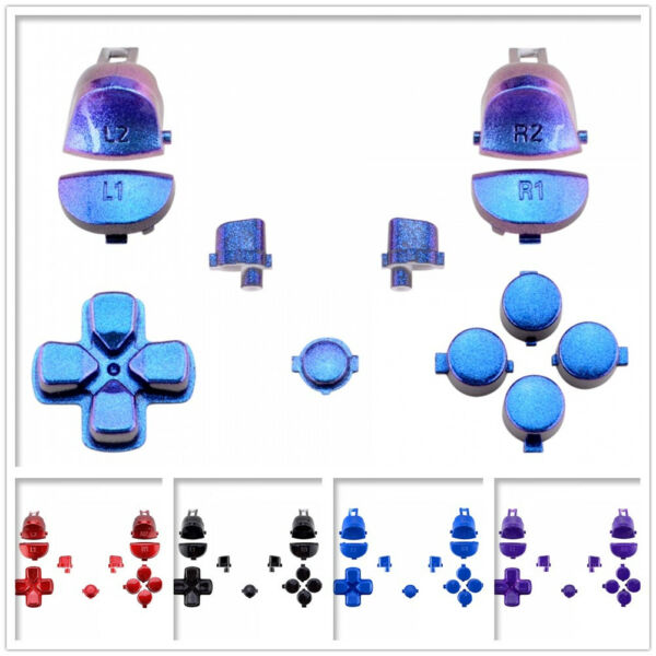 Glossy Full Set Buttons Replacement Kit for PS4 Pro Slim Game Controller JDM-040