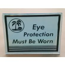 (2) Tanning Bed Sign Black EYE PROTECTION MUST BE WORN Acrylic Tent  3