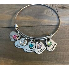 Mother Bracelet personalized daughter son name birthstone heart charm Mom Gift