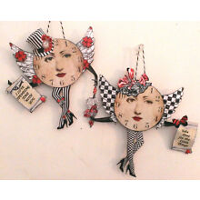 NEW UNIQUE altered art TIME Clock Fairy paper dolls **2**