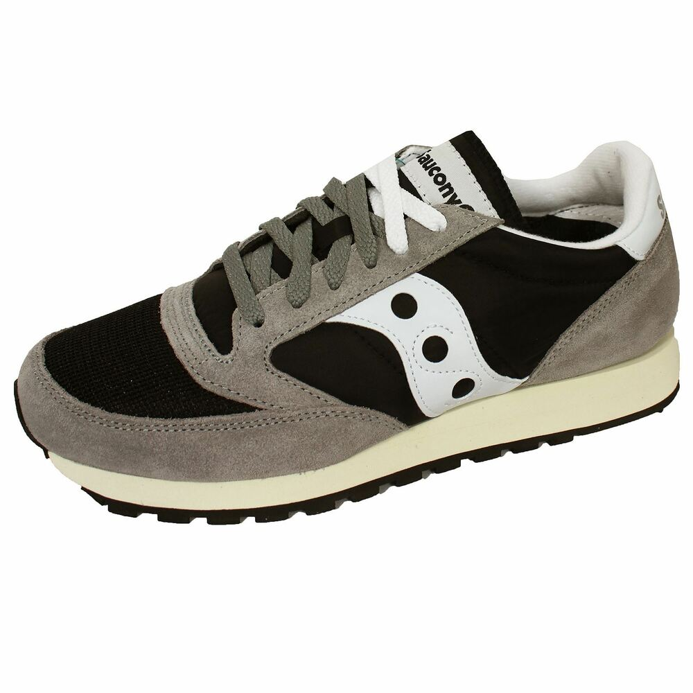 new style e3d67 364aa SAUCONY JAZZ ORIGINAL VINTAGE MENS GREY BLACK WHITE TRAINERS | eBay
