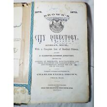 EARLY Antique 1870 BROWN'S CITY DIRECTORY OF ADRIAN, MICHIGAN Book Advertising