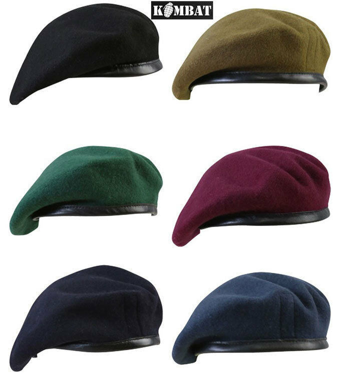 32515c190cc9e Mens Army Combat Military Beret Cap Hat Black Red Green Blue Black ...