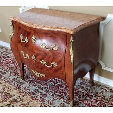 French Louis XV Style Bombe Marble Top Ormolu Mounted Walnut Commode Chest c1880