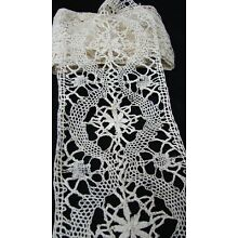 ANTIQUE HANDMADE NEARLY 4 YARDS WIDE BOBBIN LACE TRIM