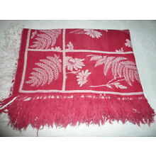 Vintage TURKEY RED FRINGED TABLECLOTH Cotton 54 x 72