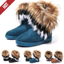 Women's Winter Casual Warm Suede Faux Fox Fur Short Snow Boots Platform Shoes