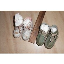 2 Pair Antique Baby or Toddler Leather Lace-up Shoes, Moccasin Style Small Old