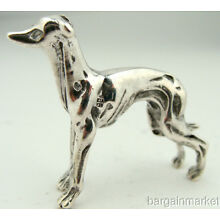 925 Sterling Silver Greyhound Dog Figurine #11