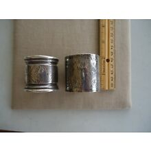 2 ANTIQUE STERLING LARGE ETCHED NAPKIN RINGS MARKED STERLING 98 AND S 23