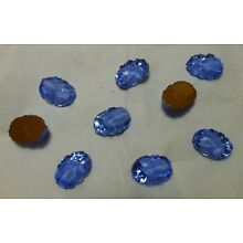 14x10mm blue/white foiled glass nugget cabochons, 1 gross, Vintage BIN010