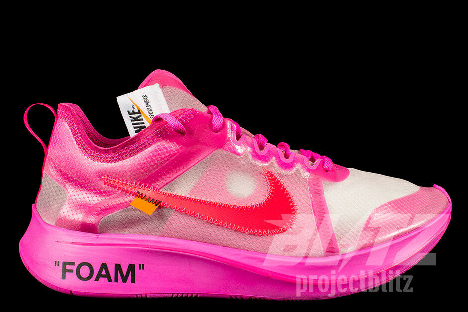3faf668fda39c Details about THE 10   NIKE ZOOM FLY OFF-WHITE Sz 4-13 TULIP PINK RACER PINK  AJ4588-600