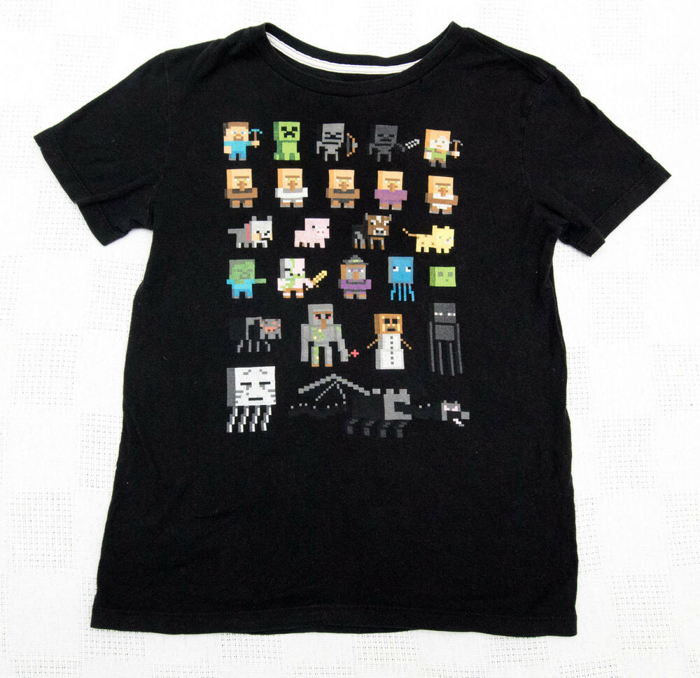 49eed991ca5f00 Details about MINECRAFT Boys Girls Unisex Old Navy L (10-12) Black T-Shirt