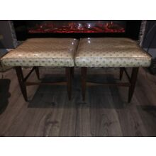 2 Mid Century Modern Upholstered Stool Small Seat Bench Vintage