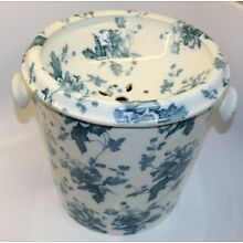 Antique England Floral Chamber Pot Blue Transferware w/ Insert Only