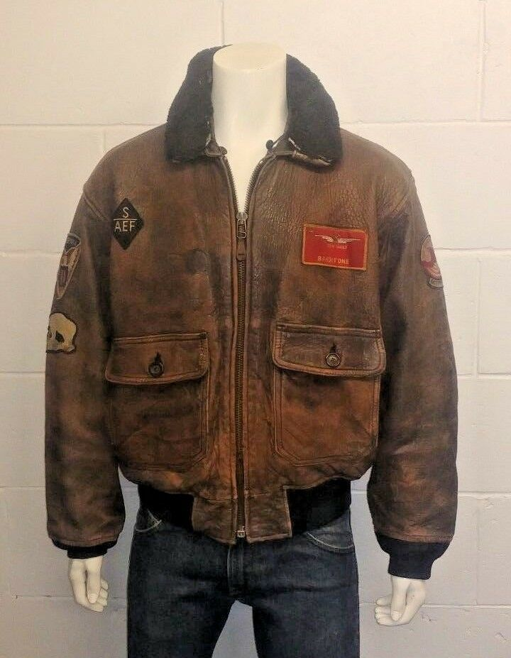 aca929a8344 Avirex Type G-1 MIG 29 With various original patches 1987 Leather Jacket