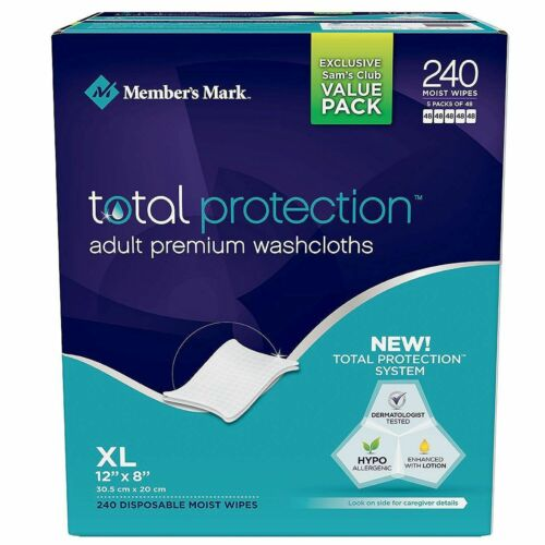 Member's Mark Adult Washcloths Wipes 240 ct Personal Care Hand Face Clean-Up