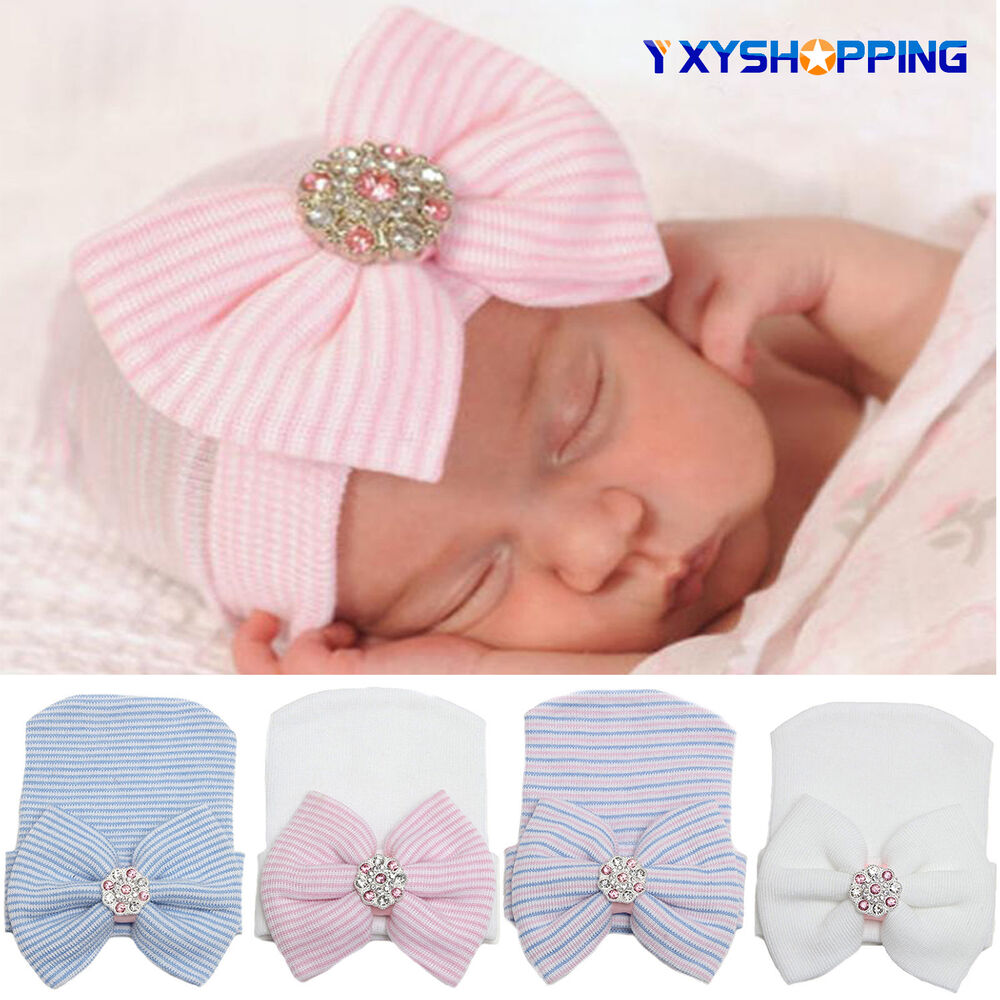 Details about Newborn Baby Girl Infant Stripe Bowknot Outdoor Casual Beanie  Hospital Hat Cap 7c2be1924dd0