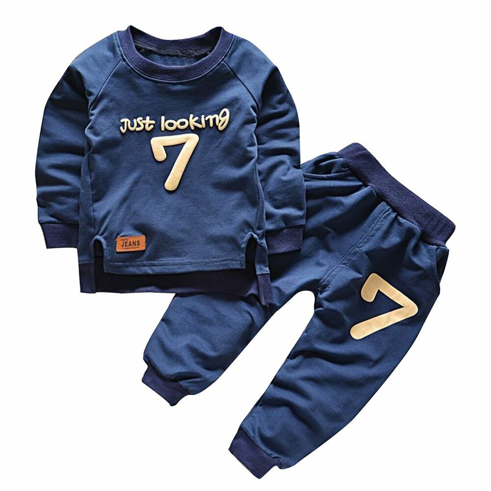 ec8977c92ec49 Details about Toddler Kids Baby Boy Clothes Long Sleeve Sweatshirt Tops+Pants  Outfits 2PCS Set