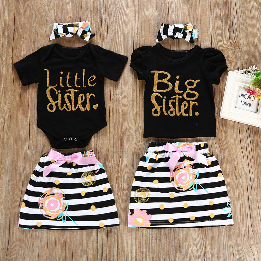d58f39c887a Details about Big Little Sister Matching Top T-shirt Newborn Baby Girl  Romper Dress Outfit US