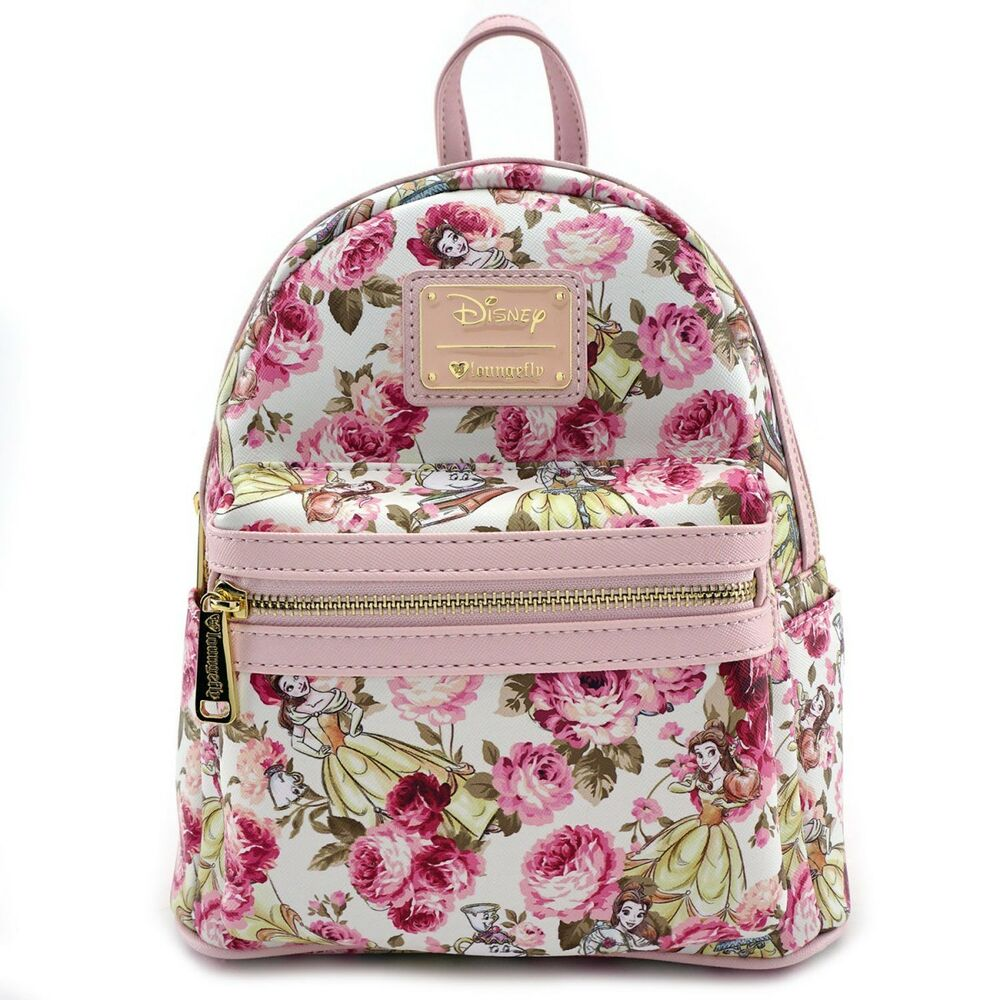 6420d667c3 Details about Loungefly Disney Beauty and the Beast Belle Floral Flower Mini  Backpack WDBK0349
