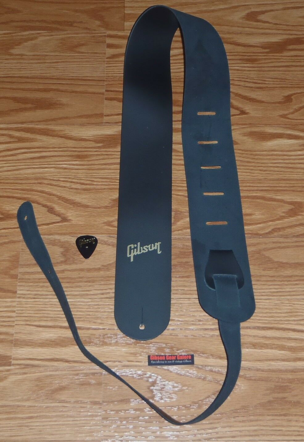 Gold Logo Gibson Black Leather GUITAR STRAP for Les Paul Classic SG