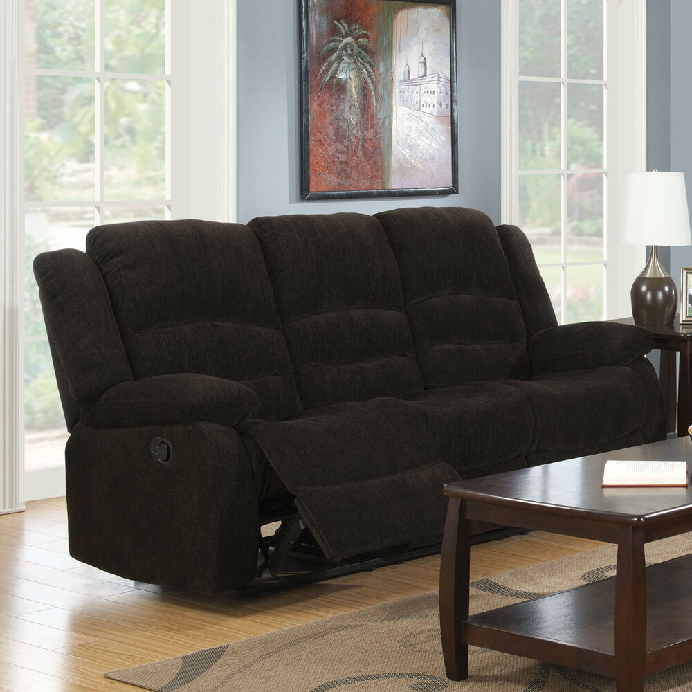 Details about casual dark brown chenille reclining motion sofa living room furniture